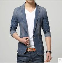 2017 New arrival Mens Spring Suit Male Slim Fit Jacket Fashion Casual Outerwear Denim Blazer Men Blazer Masculino 050116