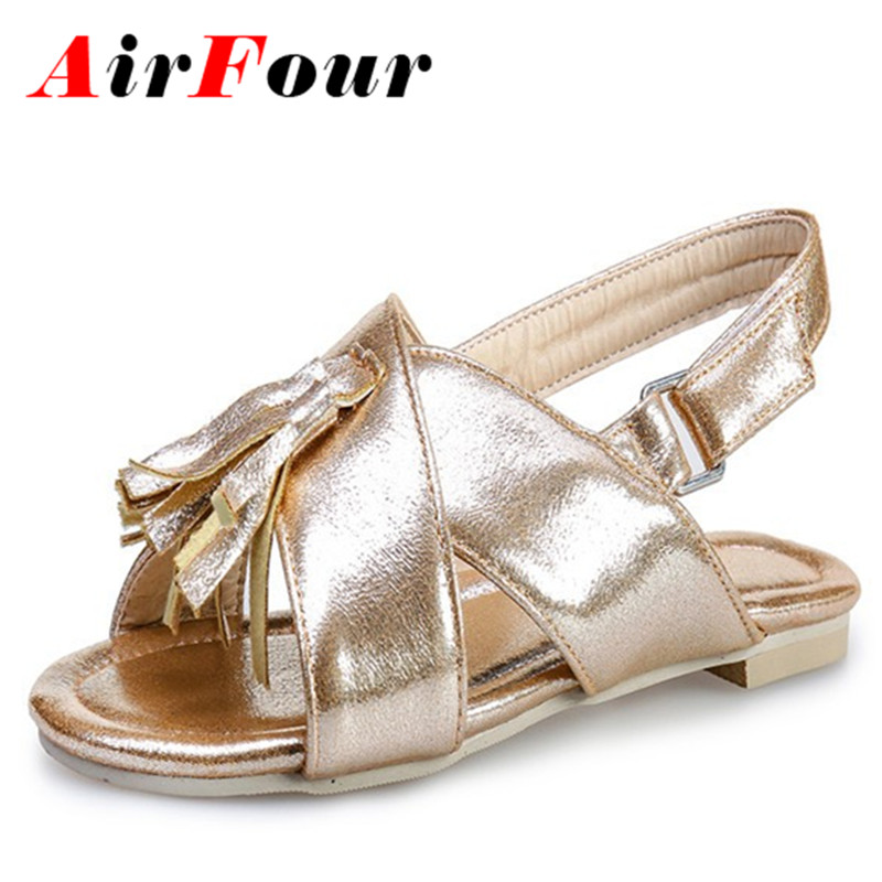 Airfour New Summer Shoes Women Flats Sandals Buckle Strap Patent Leather Shoes Casual Open Toe Sandals Plus Size 4-14 Four Color<br>