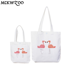 2 Size.Top Quality Canvas Pink Flamingo Reusable Shopping Bag.Foldable Beach Lunch Grocery Shoulder Bags.Casual Tote Handbag