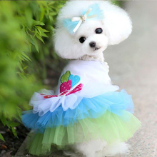 Green New Hot Summer Style Pet Puppy Small Dog Tutu Dress Cat Lace Skirt Princess Clothes Apparel Costume S,M