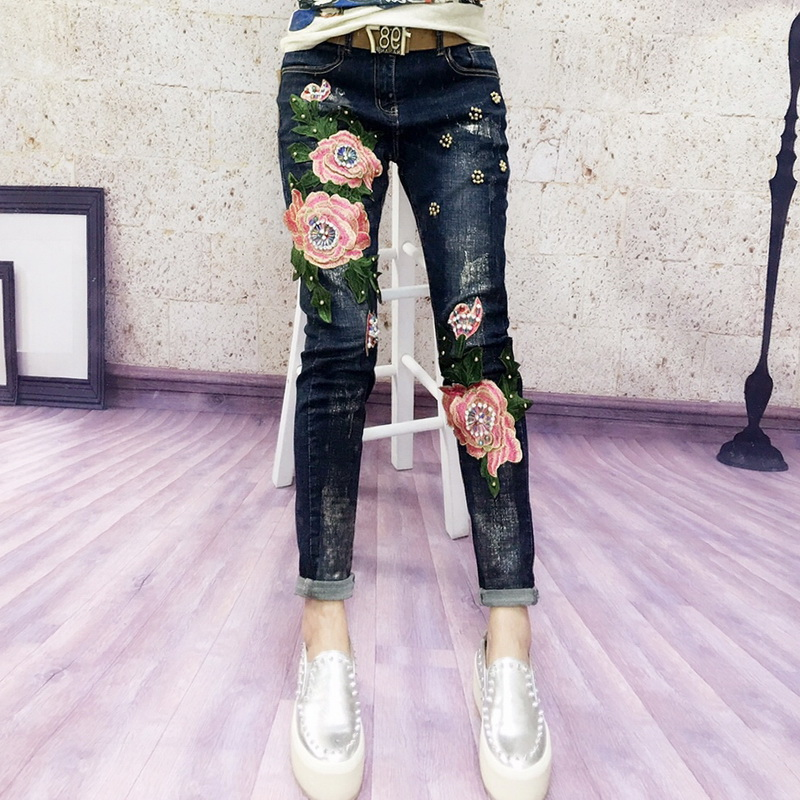 Europe Style 3D Flowers Embroidery Women Jeans Sets Floral Skinny Denim Pencil Pants Flares Embroidered Lady Trousers L1123Îäåæäà è àêñåññóàðû<br><br>