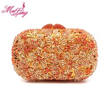 Vintage indian luxury jeweled crystal flower party purses diamond designer women evening clutches wedding party handbag