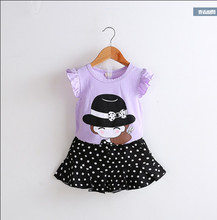 2pc Casual Kids Clothing Baby Girls Clothes Sets Summer cat Girl Tops Shirts + Shorts Suits Children's Clothin 28(China)