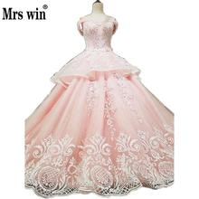 Wedding Dress 2017 The New Style Pink High-end Short Sleeve Sweetheart Luxury Embroidery Long Sweep Train Princess Ball Gown F(China)