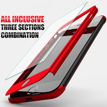 ZNP 360 Degree Full Cover Case For iPhone 7 6 6s 8 Plus With Tempered Glass Cases For iphone 6 7 8 Plus 6s 5 5s Phone bag Case(China)