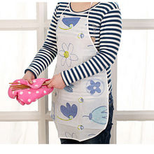 Water Resistant Women's Print Floral Apron Resuable Flower Apron Hot Sale New Home Kitchen Restaurant Cooking Apron For Women