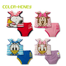 Girls Minnie Mouse Clothing Set Cotton Short Sleeve t shirt+Panties Daisy Duck Boys Pajamas Underwear Infant Boys Dog Sleepwear