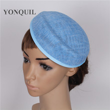 15 colors 5psc/lot 16*19CM Solid oval light blue Airline stewardess cap imitation Sinamay Base Fascinators Hats DIY accessories
