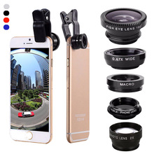 Universal 5 in1 Aluminum Alloy Shell Clip For iPhone Mbile Phone Camera Lens CPL Fisheye Wide Angle 2.0X Telephoto Macro Lens