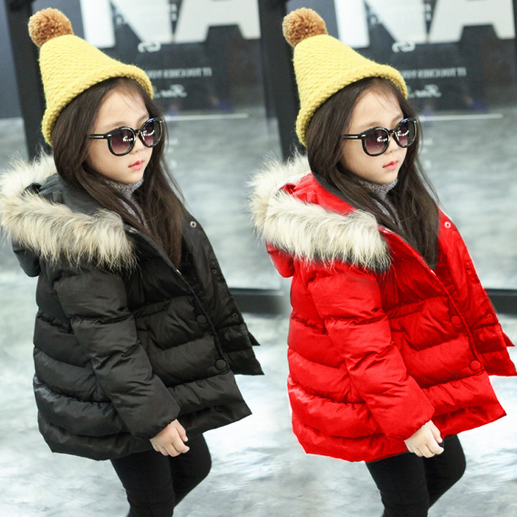 Free shipping  cotton-padded jacket slim waist hooded raccoon fur child girls clothing winter outerwear girls warm coatОдежда и ак�е��уары<br><br><br>Aliexpress