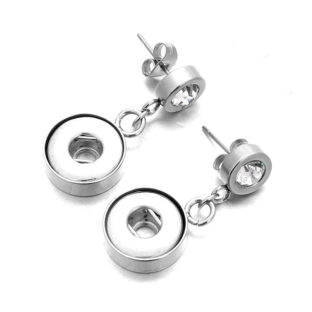 New Snap Jewelry Stainless Steel 12mm Snap Earrings Fashion Mini Button Stud Earrings For Women DIY Snap Jewelry