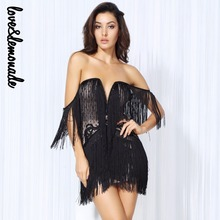 Love&Lemonade Sexy Black Tassel Lace One Piece Gathering Dresses LM0085(China)