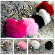 Hot Wholesale 10pcs Pearl fox fur diamond 3.5mm universal earphone Dust plug for iphone ipad samsung cell phone Dustproof plug
