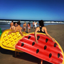 2017 New 72 Inch Summer Swimming Pool Inflatable In Water Semicircle Watermelon Floating Row Air Mattresses Swim Rings(China)