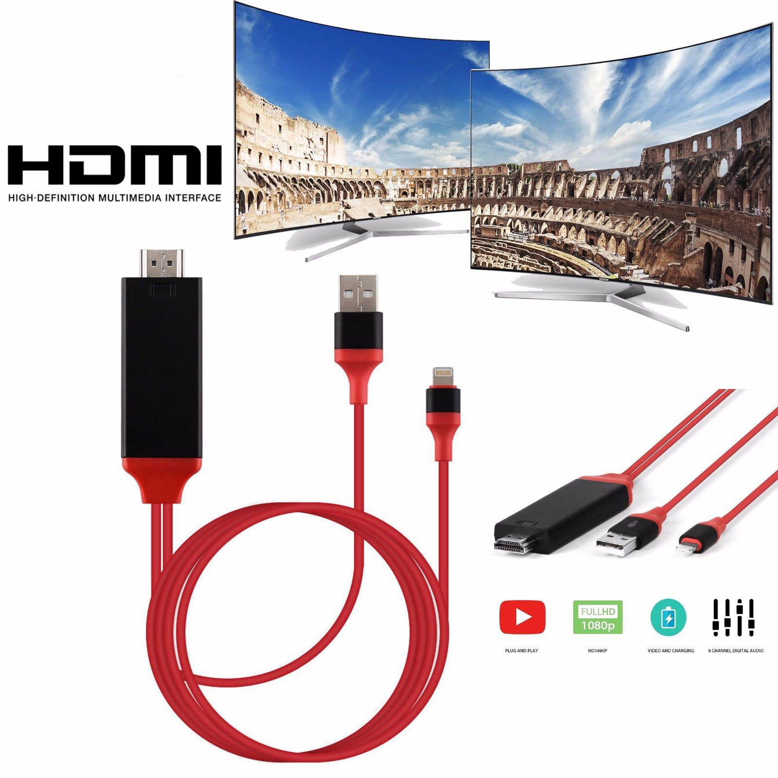 8 Pin Lightning to TV HDTV HDMI Mirroring Cable AV Adapter For Apple iPhone USA