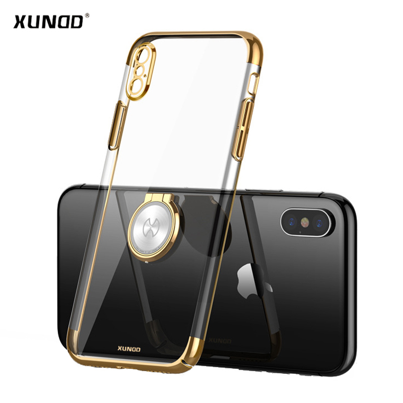 Luxury Clear Ring Holder Case For iphone X 10 Xundd Hard PC back Cover For iphone X case capa work with Magnetic car holder 15