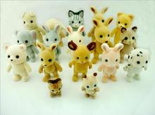 10pcs/lot animal toys sylvanians family,lovely velvet bear 5-8.5cm,hand and legs can move,toy dolls,kids toy home decoration