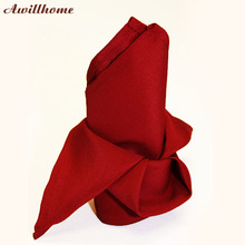 Awillhome  10pcs/lot  200gsm apple  red cloth napkins polyester napkins set of placemats 40x40cm
