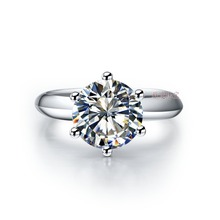 1Carat 585 White Gold Six Prongs Round Dazzling CHARLES&COLVARD Moissanite Engagement Ring World Hot Top Quality Solid Gold Ring