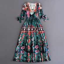 women plus size clothing summer maxi dress 2017 floral printed bohemian long dress 3/4 sleeve floor length fashionable dresses