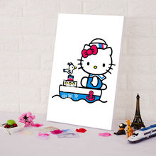 DIY digital paint by numbers Japanese Cartoon posters Hello Kitty Cat  oil painting by numbers art  Painting training for kids
