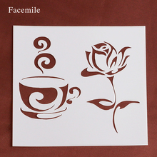 Gift Facemile Rose Flower Coffee Cup Stencil Plastic Stencils For DIY Scrapbooking Photo Album Paper Cards 54058