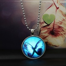Steampunk necklace Magic Fire dust necklaces & pendants charm Glow in the dark 2015 Fashion Butterfly Glass Jewelry(China)