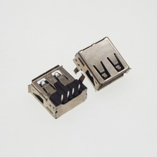 100pcs AF 90 degrees USB female socket notebook tablet PC motherboard USB port 2.0 usb connector(China)