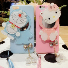 For iPhone 6 6S plus Case Luxury Cell Phone Case For iPhone 7 7 Plus Case Shell Back Cover Holle Kitty Doraemon mirror