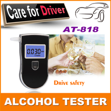 Hot Sale portable digital mini breath alcohol tester wholesales a breathalyzer test with 5 mouthpiece AT818 Drop Free shipping