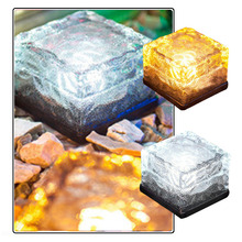 2017 Fashion Sunlight Clear Solar Glass Bricks Lights for Garden Decoration Waterproof Ground Crystal Powered Led Paver Light