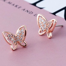 Stainless Steel Earrings For Women Girls Rose Gold Color Frosted Double Butterfly Earrings Studs Best Jewelry Gift