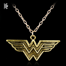 Superhero Justice League Wonder Woman Necklace Antique Golded Pendant Vintage Collares Women Statement Necklace Wholesale