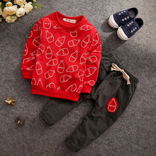 2pcs Fall Outfits for Boys Clothes Children Clothing Set Outfit Long Sleeve Tops Pants Baby Winter New Year Sets(China)