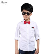 2017 Fashion Boys Dress Shirts Solid White School Blouse Long Sleeves Boy Child Shirt Chidren Dress Shirt for Boys 3T-13T