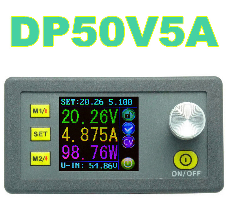10pcs DP50V5A Constant Voltage current Step-down Programmable Power Supply module buck Voltage converter color LCD voltmeter<br>
