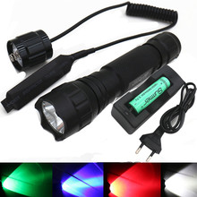 XM-T6 Q5 White/Green/Red/Blue Light led Tactical flashlight Remote pressure switch Hunting Rifle Gun Lighting Lamp Torch Lantern