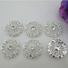 (BT204 25mm)5pcs flat back rhinestone embellishment Beautiful Silver Plated Faux Pearl Clear Glass Rhinestone Buttons