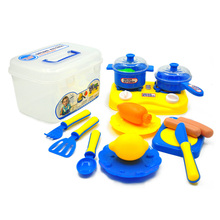 Hot 16pcs/set New plastic kitchen role play toys set with storage box Cooking toys Early educational toys for children(China)