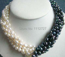 New fashion charming 5rows 7-8mm white & black Akoya Cultured Pearl necklace beads Jewelry Natural Stone BV64 Wholesale Price