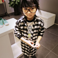 Fashion Boys Blouse Children Kids Long Sleeve Plaids Shirts Checks Costume For 2-7Years Baby Girls(China)