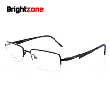 General Purpose Men And Women Half Frame Glasses Fashion Personality Optics Glasses Pure Titanium Spectacles Frame Light Durable(China)