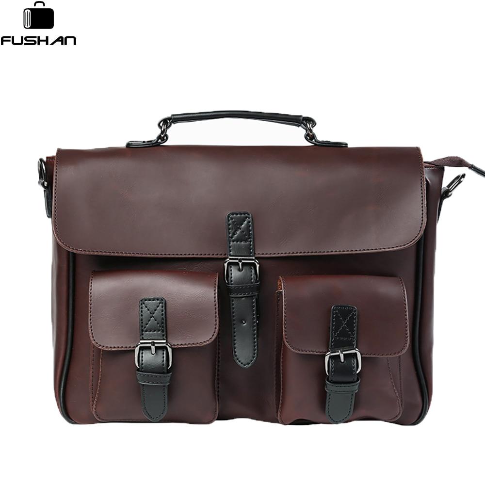 Crazy horse Leather men Handbags Vintage Multipurpose men Handbag Shoulder Bags Brand Business men bag new Fashion Travel Bag<br>