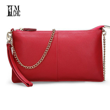 Soft Genuine Leather Ladies Chain Shoulder Bag Real Cowskin Women Small Clutch Bags Classic Girl Gift Evening Party Handbags(China)