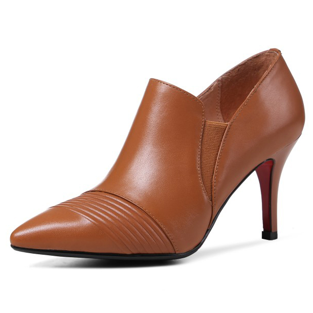 (Brown, black) Free shipping Full Grain Leather Womens Pointed Toe fashion Pumps elegant High heels party shoes for women<br><br>Aliexpress