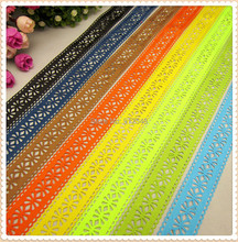 MD62717 8 color mix hot sale 28mm hollow Flowers solid Grosgrain Ribbon, Clothing accessories, DIY handmade materials