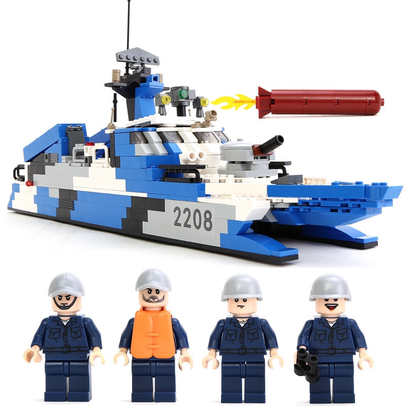 KAZI Fighter Boats Military Series Action Model 578pcs Bricks Assemble Building Block Educational Toys For Children Gifts<br>