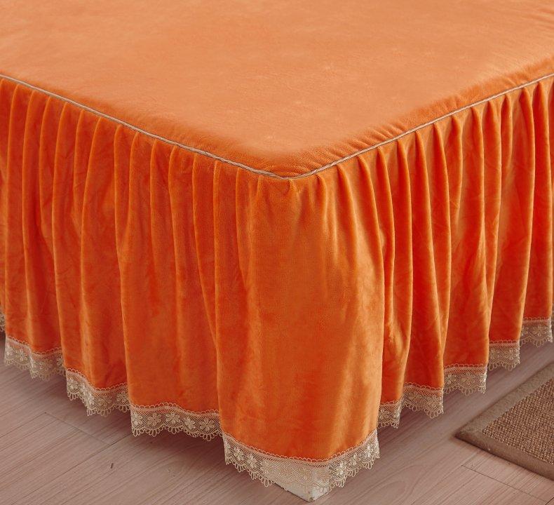 3Pcs Fleece Bed Skirt Set W/ Pillowcases, Mattress Protective Cover 33