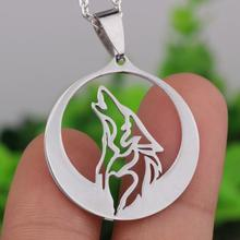1pcs Personality Stainless Steel Howling Wolf Totem Necklace Pendant With Chain for Men and Women Animal Movie Jewelry