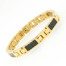 Hot ! 316L Stainless Steel Gold Plating Bangles Negative Ion Magnetic Germanium Health Bracelet For Men Women Bio Healing